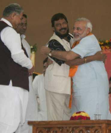 Republican Party of India president Ramdas Athavale with Narendra Modi