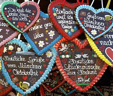 Traditional ginger bread hearts are on sale at the World's biggest beer fest, the Munich Oktoberfest, at the Theresienwiese in Munich