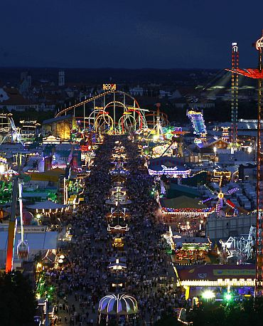 Tens of thousands of revellers stroll at the Munich Oktoberfest, at the Theresienwiese in Munich