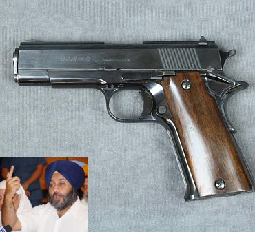 Llama pistol. (Inset) Sukhbir Singh Badal