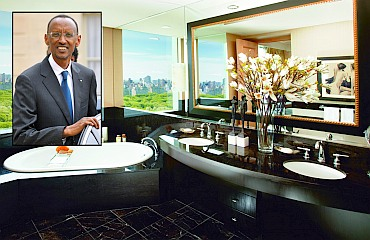 The Mandarin Oriental in New York (inset) Rwandan President Paul Kagame