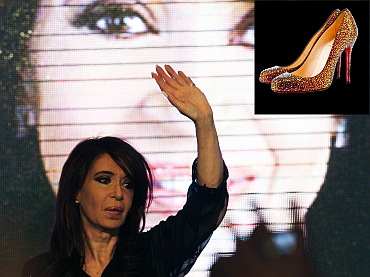 Argentina President Christina Fernandez de Kirchner (inset) a pair of Louboutin shoes