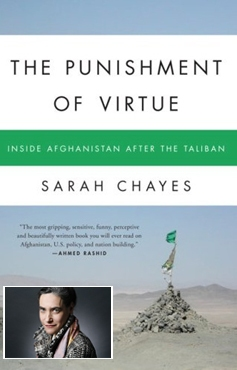 Sarah Chayes (inset), and the cover of her book The Punishment of Virtue, Inside Afghanistan After the Taliban