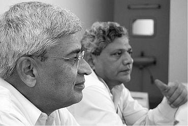 CPI-M politburo members Prakash Karat and Sitaram Yechury