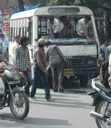 Protestors damaged seventeen buses in Kothi