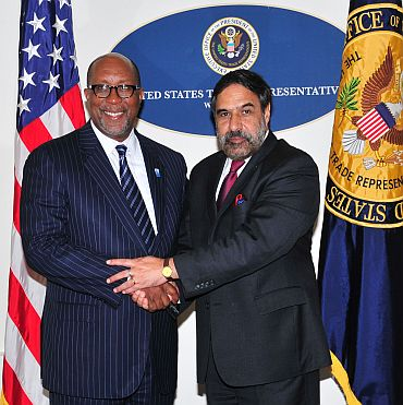 Commerce Minister Anand Sharma with the US Trade Representative Ron Kirk in Washington