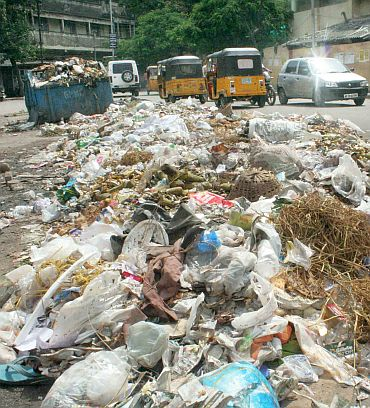 Pile of uncollected garbage in Hyderabad