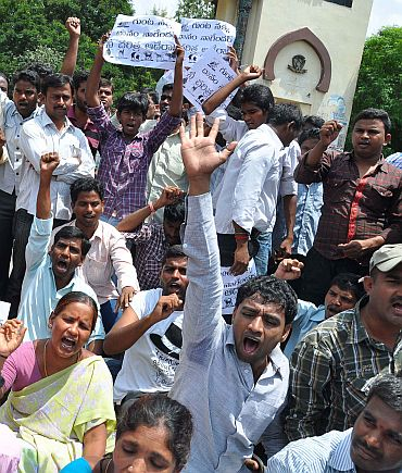 A protest outside Osmania University