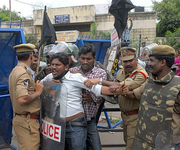 A pro-Telangana protester being detained