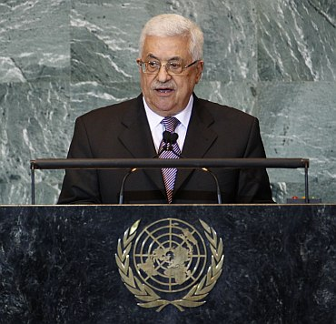 Palestine's President Mahmoud Abbas addresses the 66th United Nations General Assembly at the UN headquarters in New York
