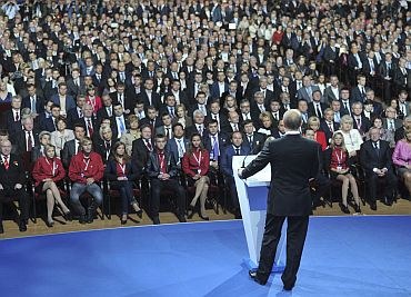 Russia's Prime Minister Putin delivers a speech during the United Russia congress in Moscow on Saturday