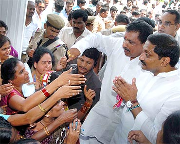 AP CM Kiran Kumar Reddy greets supporters at a function on Saturday