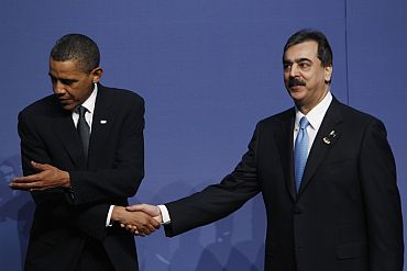 US President Barack Obama with Pakistan PM Yousuf Raza Gilani