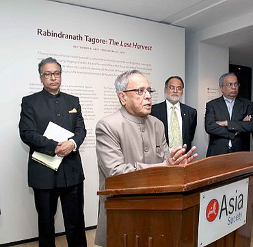 Finance Minister Pranab Mukherjee addressing a gathering in New York earlier in the week