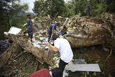 Nepalese police personnel at the crash site