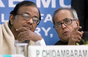 Home Minister P Chidambaram with Finance Minister Pranab Mukherjee