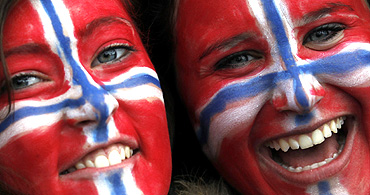 Supporters of Norway cheer during a match