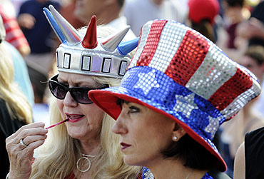 Women dress in the colours of the American national flag in Washington, DC