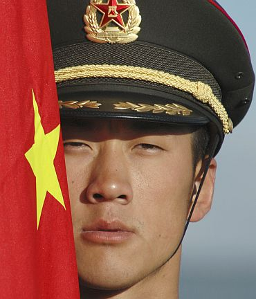 A Chinese soldier during a military drill
