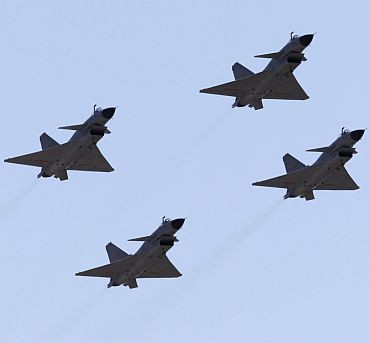 Chinese Jian-10 fighter jets at the Yangcun air force base on the outskirts of Tianjin