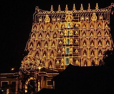Sri Padmanabhaswamy temple tower during the Laksha Deepam festival.