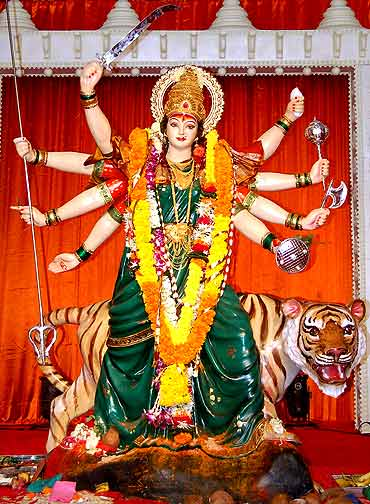 The devi idol installed by the Parel kamgar maidan navratri mandal in Mumbai