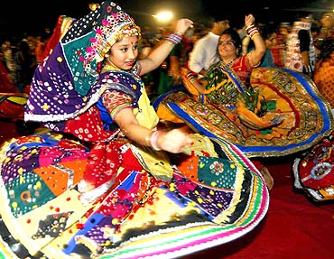 A young reveller at the Goregaon sports club Sankalp garba dance in Mumbai