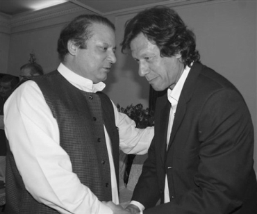 PML-N chief Nawaz Sharif with Pakistan Tehrik-e-Insaf chief Imran Khan