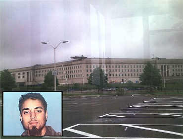 A surveillance photo that the FBI says was taken of the Pentagon by the accused is seen in a handout photo released by the US Justice Department. (inset) Rezwan Ferdaus