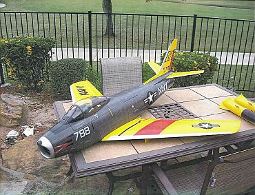 A scale model of a US Navy F-86 Sabre fighter plane is seen in a handout photo released by the US Justice Department after the photo was submitted to US District Court in Massachusetts as part of a criminal complaint and affidavit filed by the Federal Bureau of Investigation in Boston