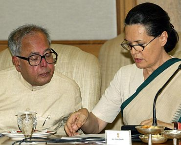 Pranab Mukherjee with Congress chief Sonia Gandhi in New Delhi