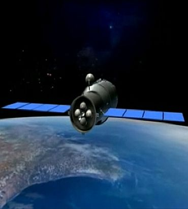 A 3D animation of China's Tiangong-1 space module is shown in this still image taken from video released September 28