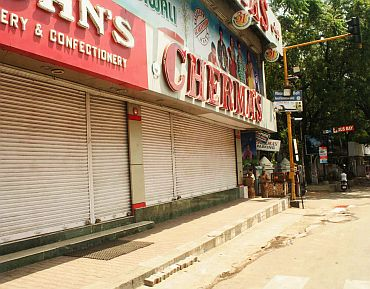 Shops and businesses were largely closed during the bandh for Telangana in Hyderabad on Friday