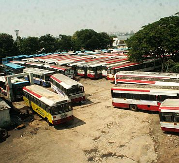 Most state buses remained off the roads to show solidarity with the Telangana cause