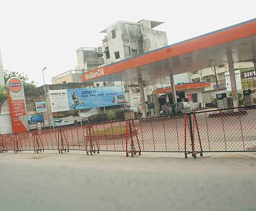 A desolate petrol pump in Hyderabad on Friday