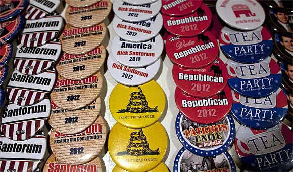 Pins are posted for sale at a rally by Republican presidential candidate and former US Senator Rick Santorum