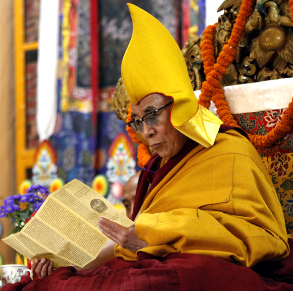 The Dalai Lama at a prayer ceremony