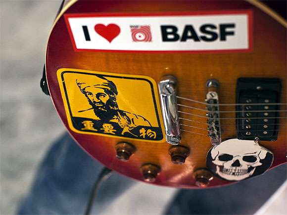 A picture of Osama bin Laden is seen on a guitar belonging to an Afghan rock musician