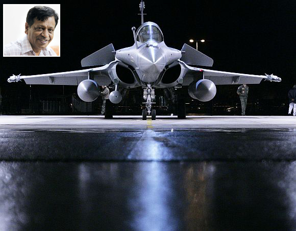 (Inset) MV Mysura Reddy, member of the parliamentary defence standing committee. A French Dassault Rafale fighter jet
