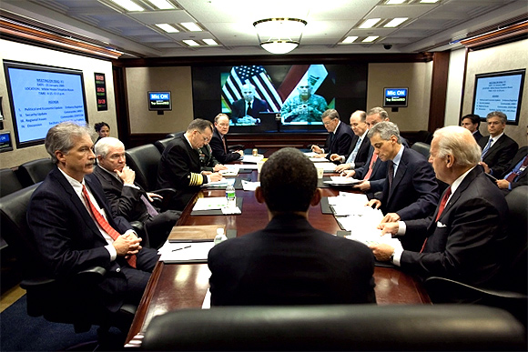 President Barack Obama in the Situation Room of the White House