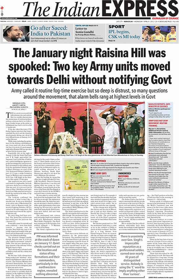 The front-page report in the Indian Express carried a report on the movement of troops towards New Delhi