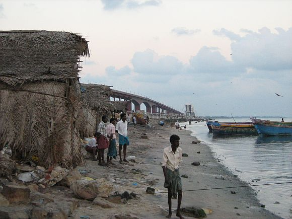 The Pamban bridge that connects the Rameswaram island to the mainland