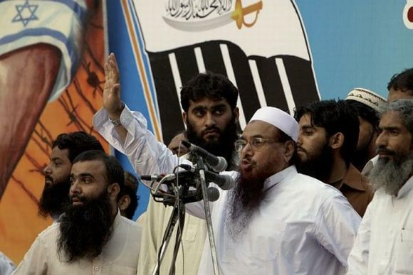Hafiz Saeed addressing a rally