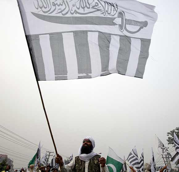 A JuD supporters during an anti-US rally in Lahore
