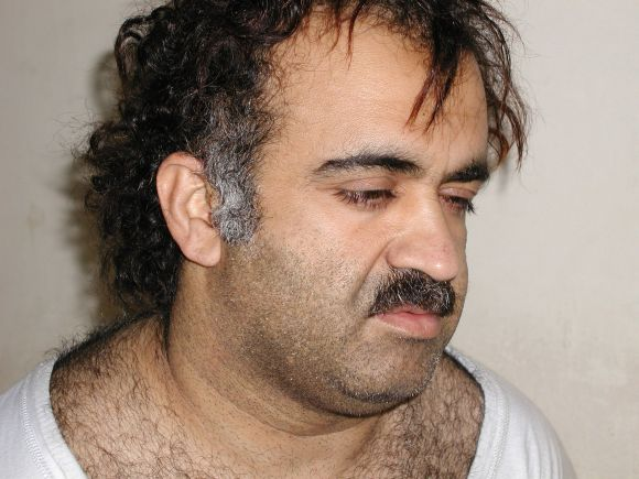 Khalid Sheikh Mohammed is shown in this file photograph during his arrest on March 1, 2003