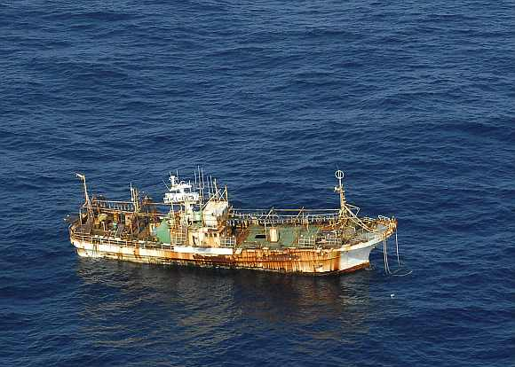Ryou-un Maru drifts northwest approximately 164 miles southwest of Baranof Island, in the Gulf of Alaska, in this US coast guard handout photo from April 4