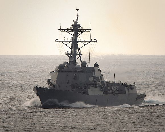 The guided-missile destroyer USS Halsey