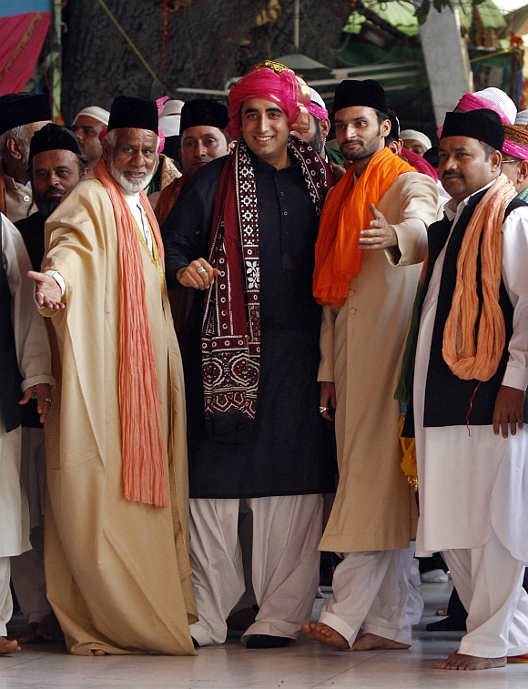 Bilawal walks after offering prayers at the shrine of Sufi saint Khwaja Moinuddin Chishti at Ajmer