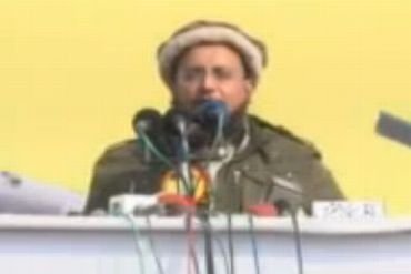 Video grab showing Haifz Saeed's son Talha Saeed addressing a rally in Lahore
