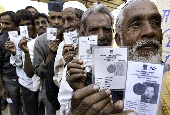 Voters in Bhopal wait to cast their votes